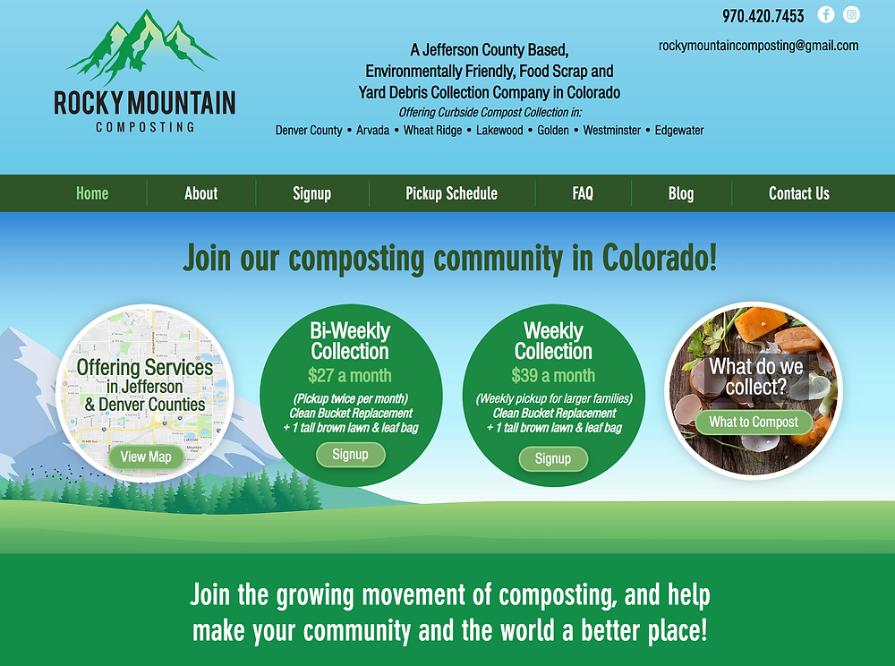 Wix Designer for Colorado Curbside Composting Company