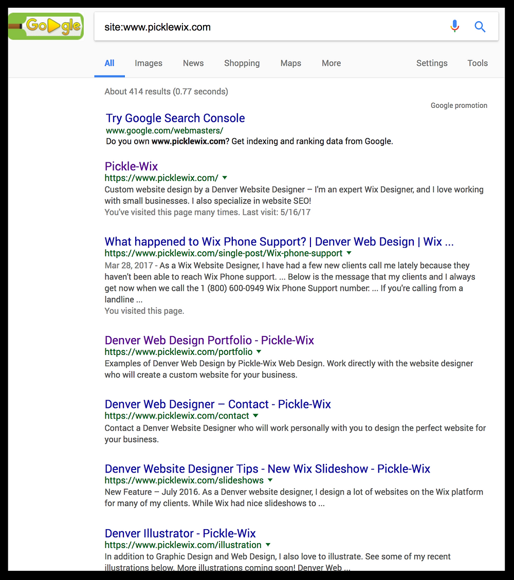 Find Google indexed pages for a website