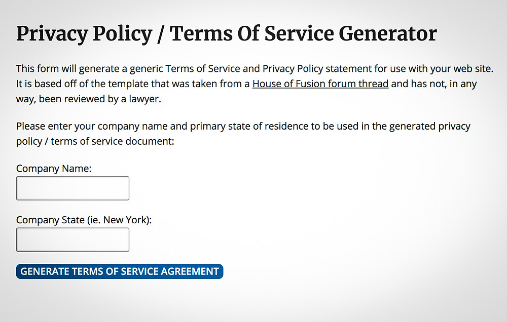 Easy Privacy Policy Generator