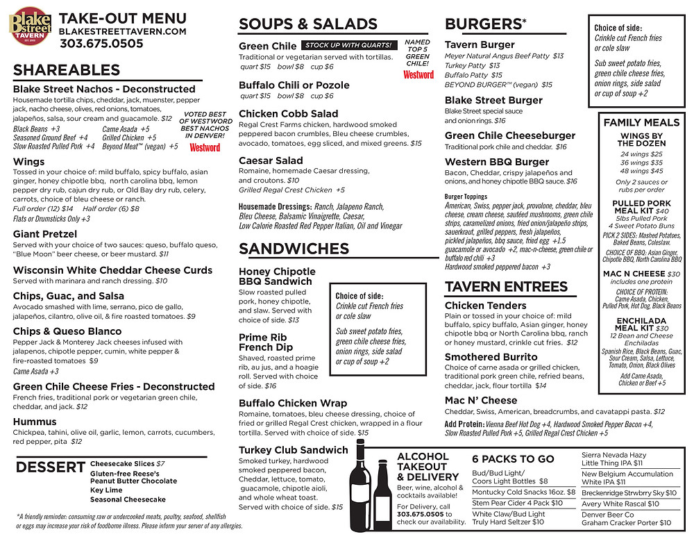 Denver Takeout Menu - Burgers, Nachos, Chips, Guac, and Salsa, Salads, Sandwiches and more
