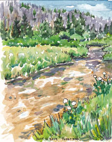 Golden River - Watercolor painting