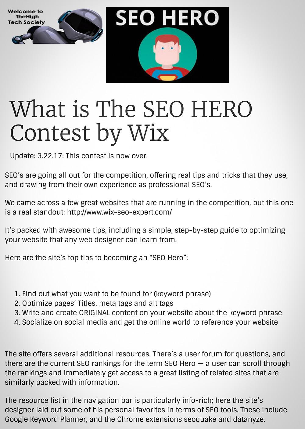 SEO Hero Article on The High Tech Society Website