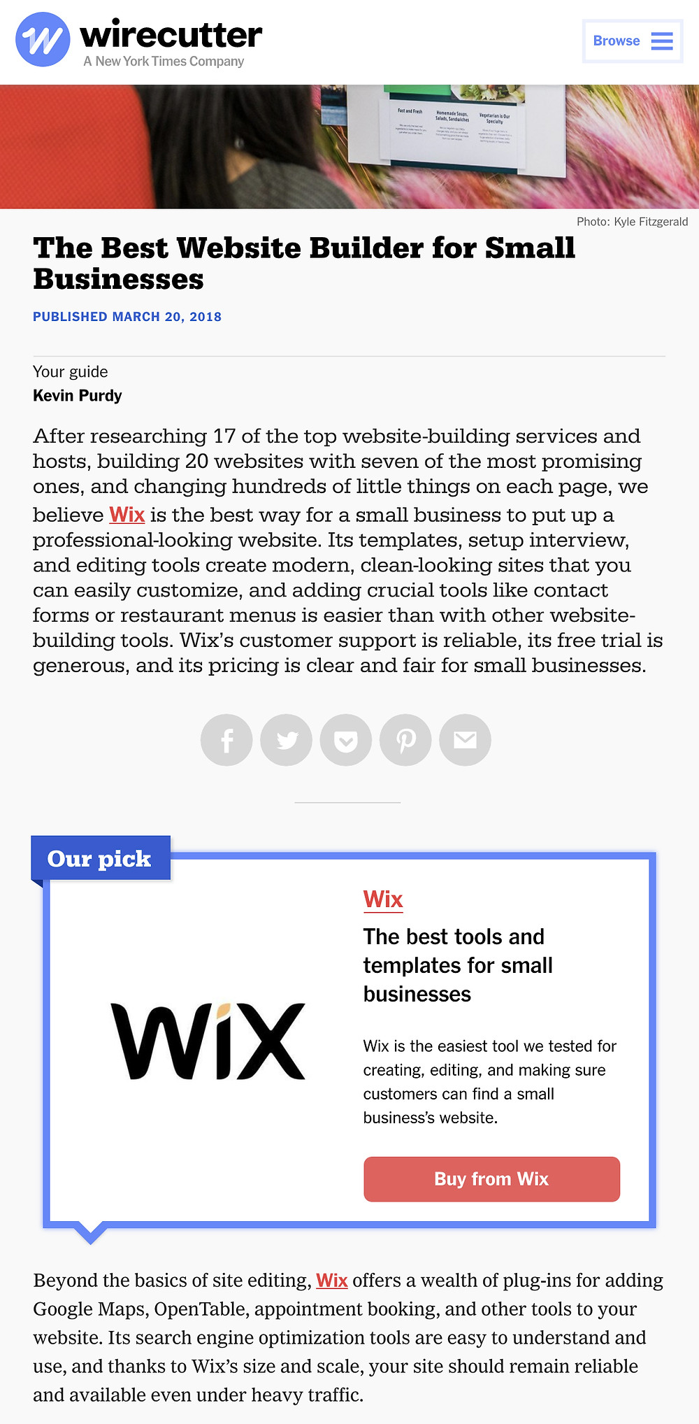 2018 Wix Review in Wirecutter.com
