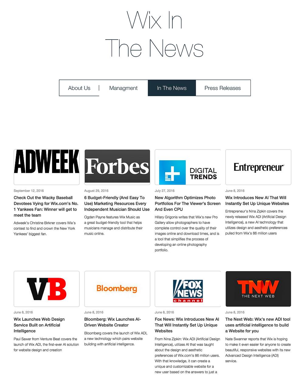 Wix Designer in the News