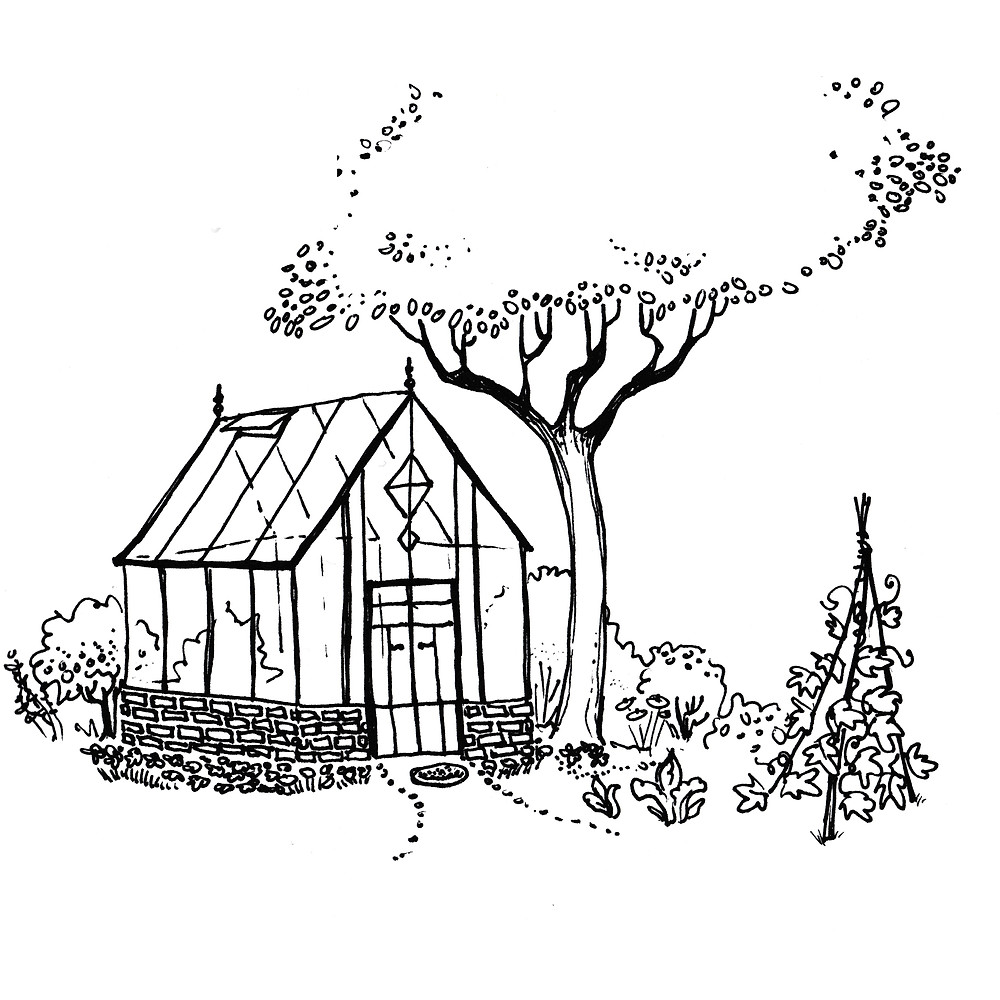 Vegetable Garden Illustration with Greenhouse