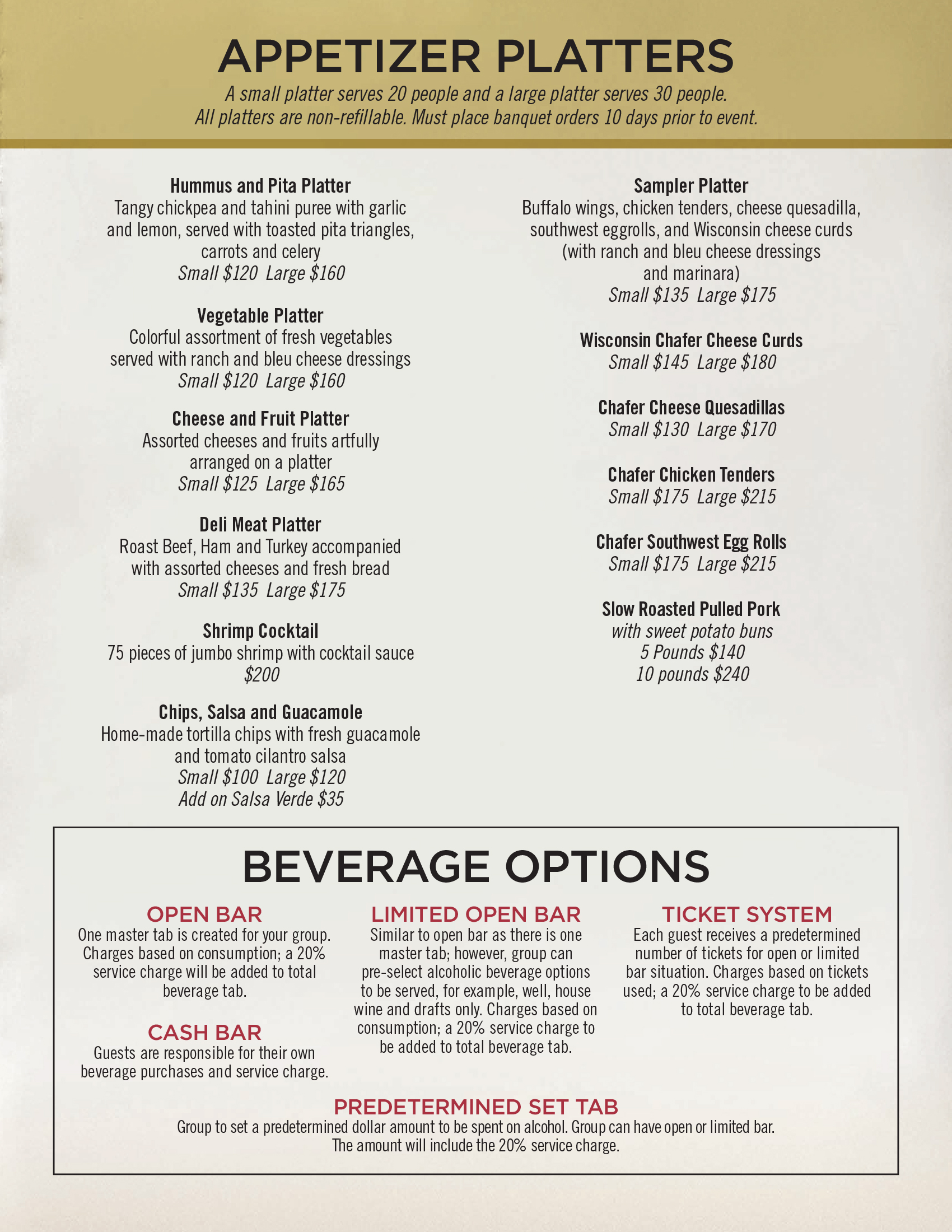 Denver Event Space Food & Beverages