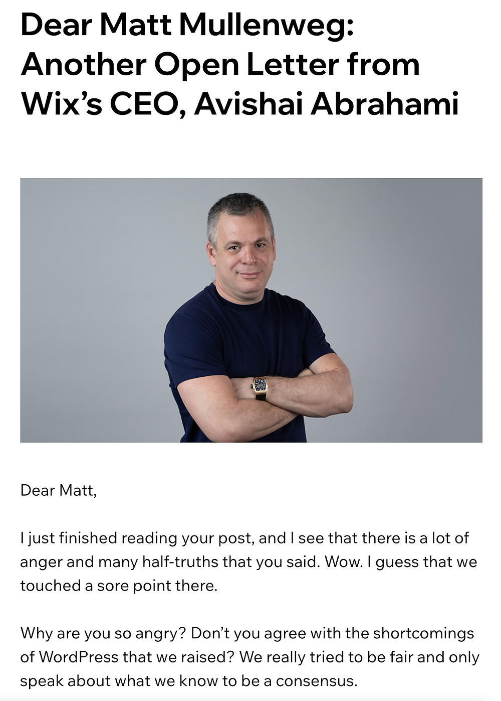 Wixs New Ads - Letter from Wix's CEO to Wordpress's Creator Matt Mullenweg