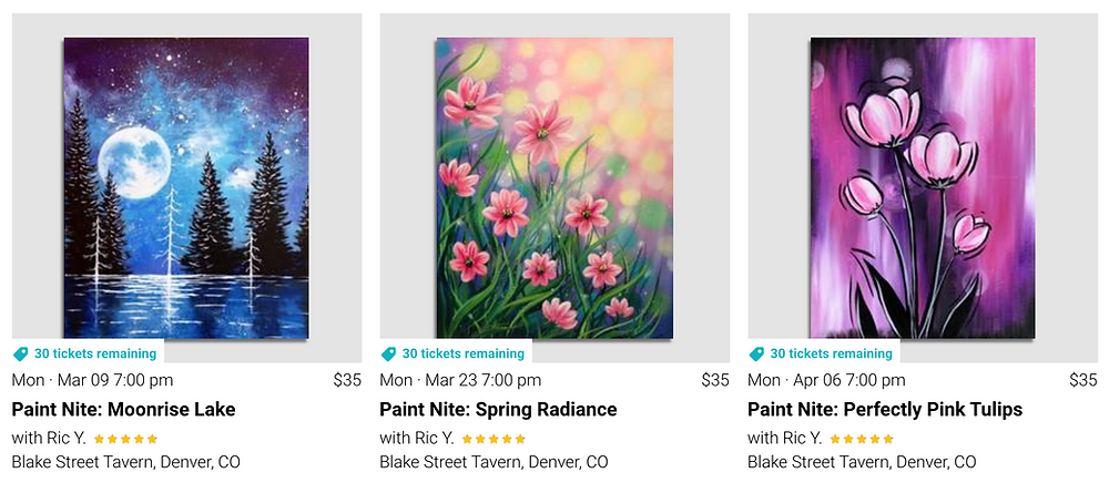 Painting Classes Denver - downtown at Blake Street Tavern