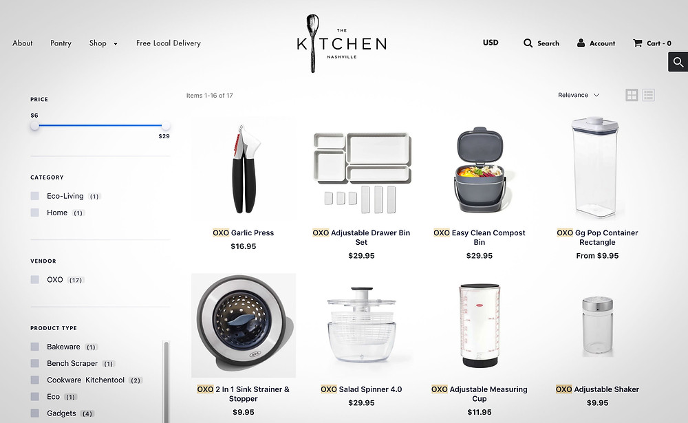 Ecommerce Production Artist for Online Stores like this Nashville Kitchen Store