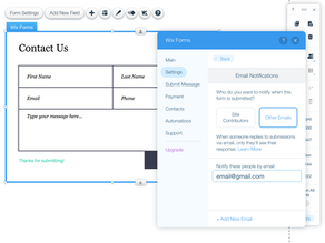Wix Forms - Email Notifications Options