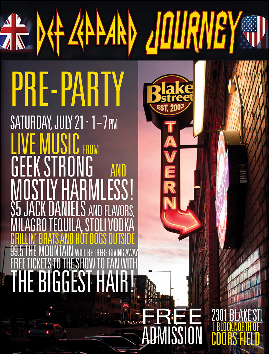 Def Leppard / Journey Denver Show - Win Tickets at the Pre-Party at Blake Street Tavern