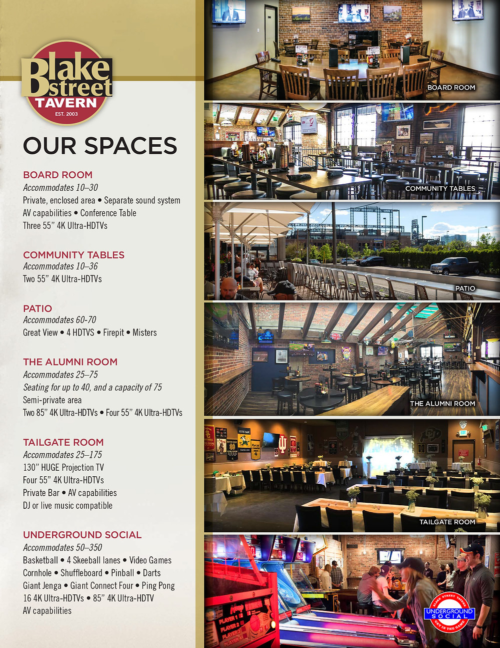 Denver Holiday Party Venues - Blake Street Tavern has no room rental fees and a great Buffet food selection!