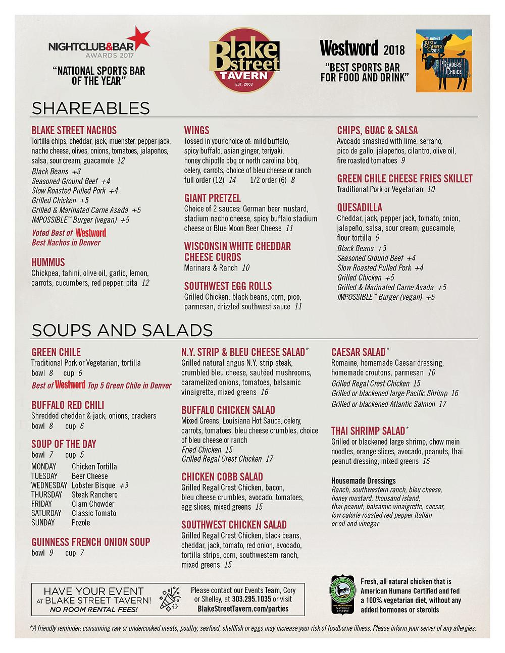 Gluten Free Restaurants - Downtown Denver Restaurant Menu with Gluten-Free Options