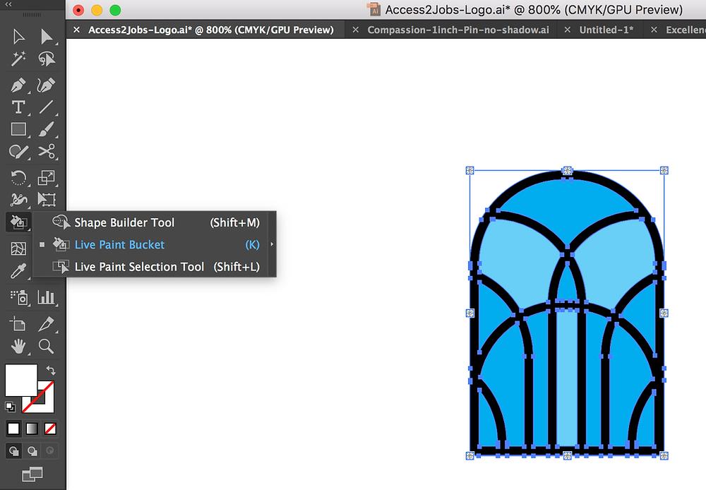 Live paint bucket tool illustrator