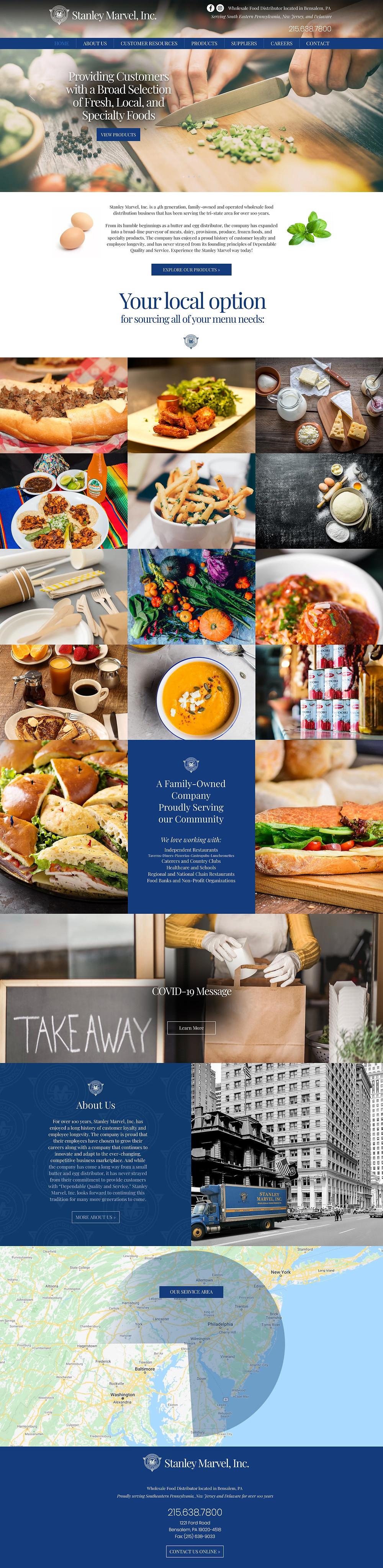 Wix Designers for Restaurant Food Business - Food Distributor Stanley Marvel