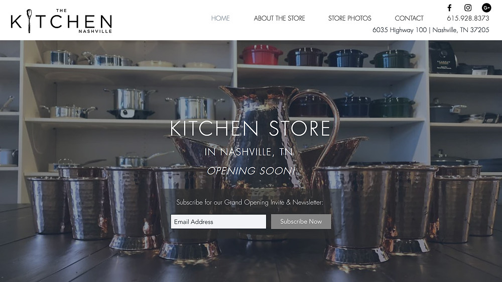 Wix Designer Portfolio - Website Design for Kitchen Store