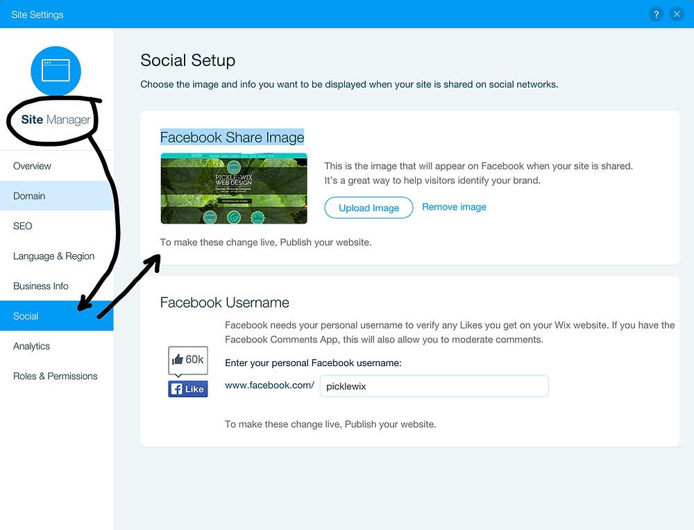 Wix Website Social Media Image for Facebook Sharing