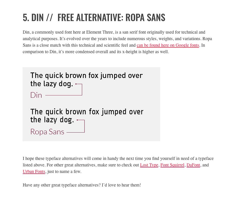 SEO Hero Tip - Free Font alternatives