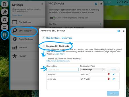 Wix Website Designer Tips: 301 Redirects
