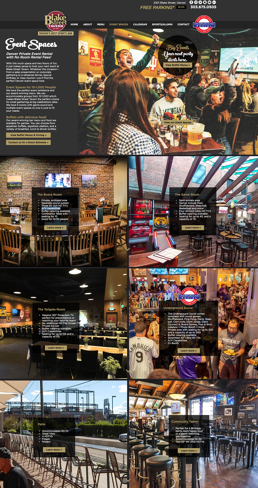 Wix Designer Portfolio - Website Design for Denver Sports Bar, Subpage Design