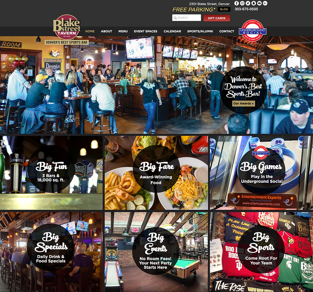 Wix Designer Portfolio - Website Design for Denver Restaurant and Sports Bar