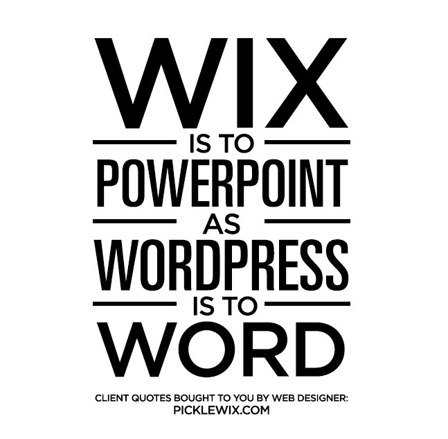 Wix is to Powerpoint as Wordpress is to Word
