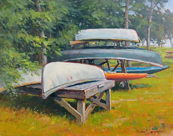 Canoes on the racks 16x20
