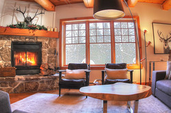 Living-room with stone fireplace