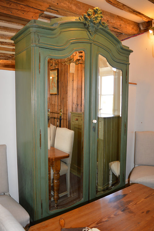 Rococo Style green painted French wardrobe with mirrored doors.  C. 1890