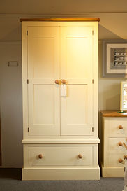 Shaker style painted double wardrobe with single drawer