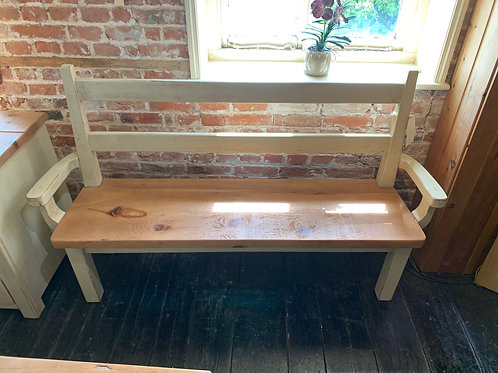 Plank Pine Bench with Arms
