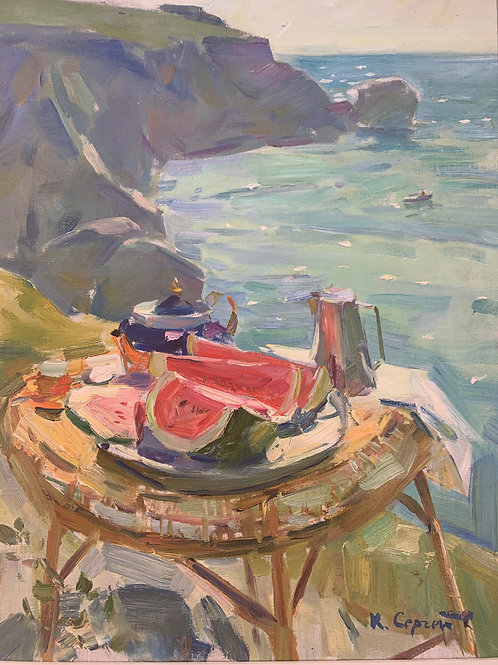 Melons on a Table by the Sea - Sergei Kovalenko **SOLD**