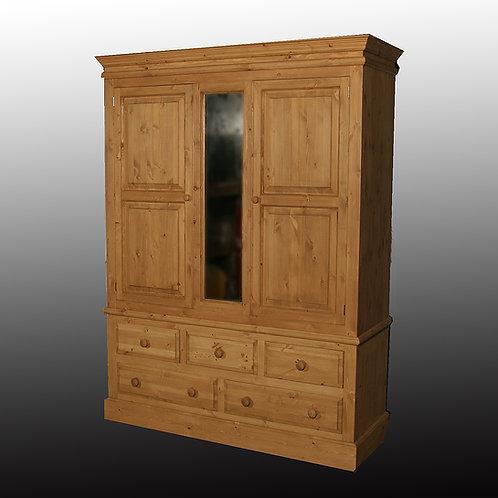 Edwardian 5 Drawer Triple Wardrobe (2 Doors with centre panel