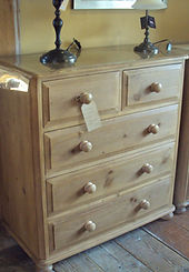 2 Drawer over 3 Drawer Pine chest of drawers