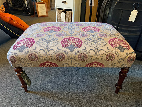 Upholstered Handmade Footstool with Antique Legs