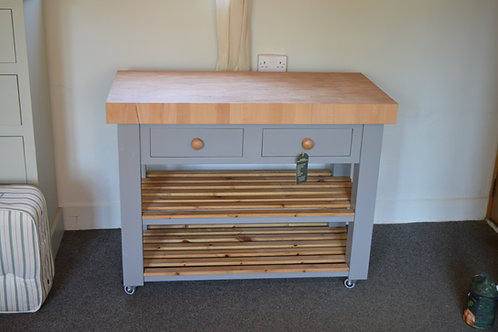 Large Shaker Style Butchers Block c/w casters and soft close drawers