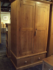Double Pine Wardrobe with single drawer