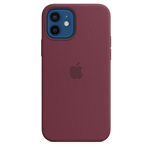Силиконовый чехол MagSafe для iPhone 12 и iPhone 12 Pro, сливовый цвет