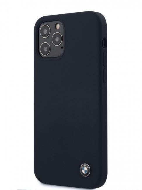 Чехол-накладка для iPhone 12/12 Pro BMW Signature Liquid silicone Hard, синий