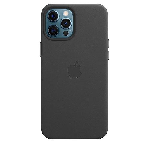 Кожаный чехол MagSafe для iPhone 12 и iPhone 12 Pro, чёрный цвет