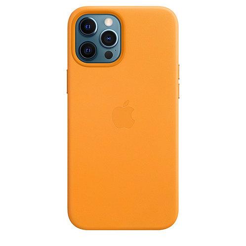 Кожаный чехол MagSafe для iPhone 12 Pro Max, цвет «золотой апельсин»