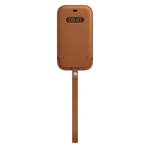Кожаный чехол-конверт MagSafe для iPhone 12/12 pro, золотисто-коричневый