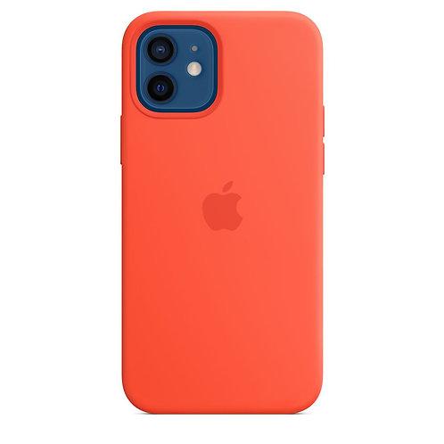 Силиконовый чехол MagSafe для iPhone 12 и iPhone 12 Pro, цвет «солнечный апельси