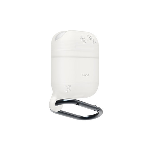 Чехол Elago Waterproof hang case для AirPods, белый (голубое свечение)