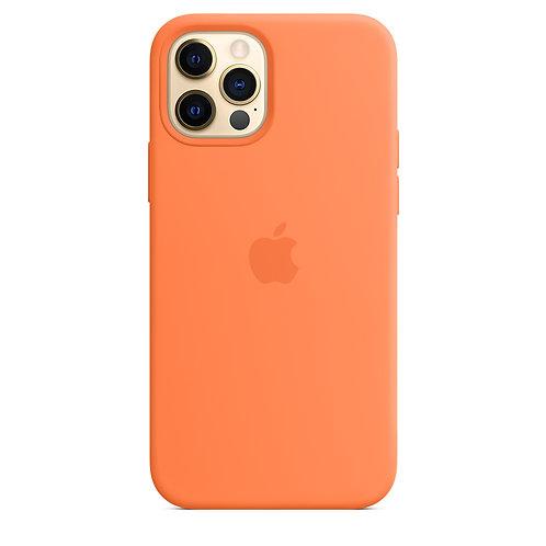 Силиконовый чехол MagSafe для iPhone 12 и iPhone 12 Pro, цвет «кумкват»