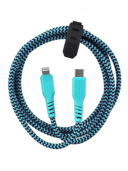 Кабель EnergEA FibraTough USB-C - Lightning MFI 1.5 м, бирюзовый