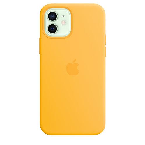 Силиконовый чехол MagSafe для iPhone 12 и iPhone 12 Pro, ярко-жёлтый цвет