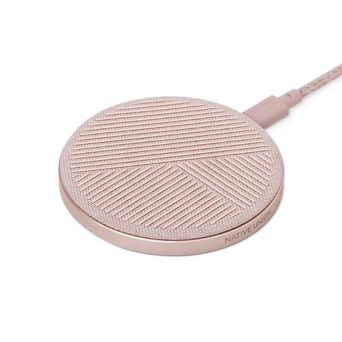 БЗУ DROP стандарта Qi, мощность 10W,  цвет: розовый   DROP-ROSE-FB