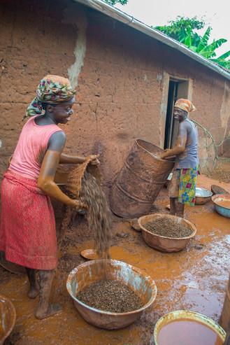 Mulheres peneirando óleo de dendê em Abomey (Benin, 2013)