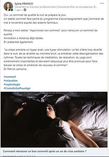 Post Sylvie FRANCO_LinkedIn_Sommeil_Mars